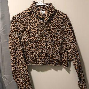 leopard print cropped jacket